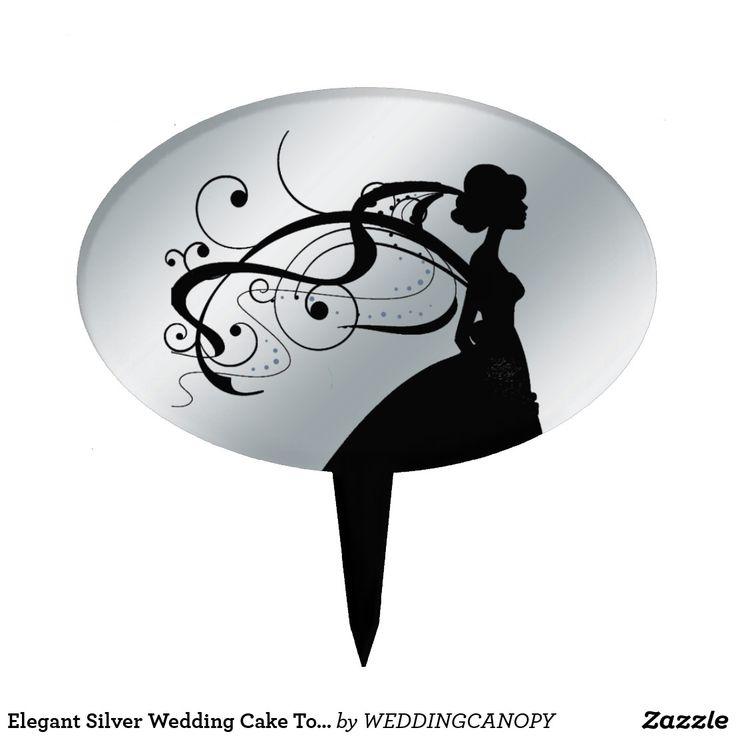 wedding invitation decoration clip art%0A Elegant Silver Wedding Cake Topper with Bride