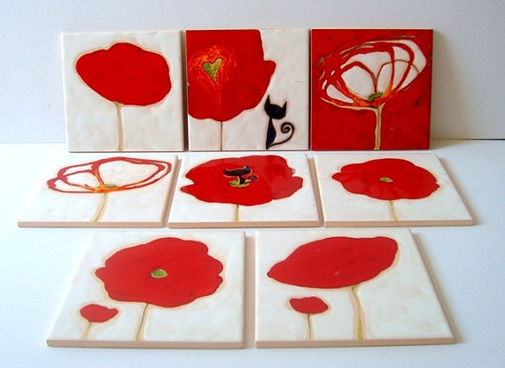 Red Poppy Ceramic Tile by SaranaLua: Poppies Ceramics, Red Poppies, Ceramics Tile