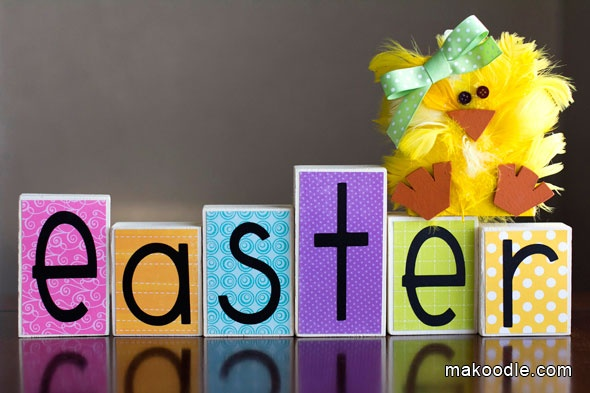 Easter Wooden Blocks and Easter Chick - also would be super cute for a baby shower using the baby's name