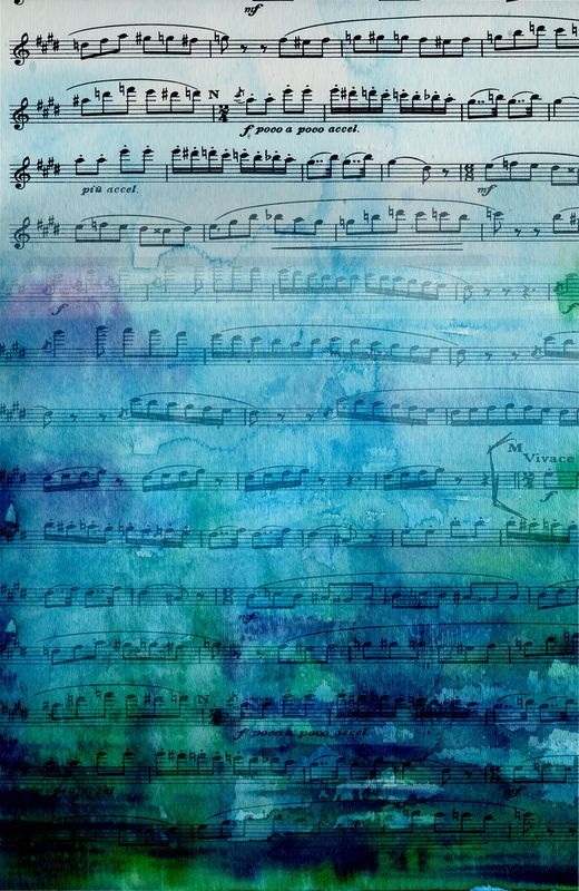 love the watercolor effect -  a cool soothing feeling....: Iphone Wallpapers, Iphone Backgrounds, Phones Backgrounds, Music Note, Mood Music, Music Iphone, Art Prints, Blue Mood, Sheet Music Art