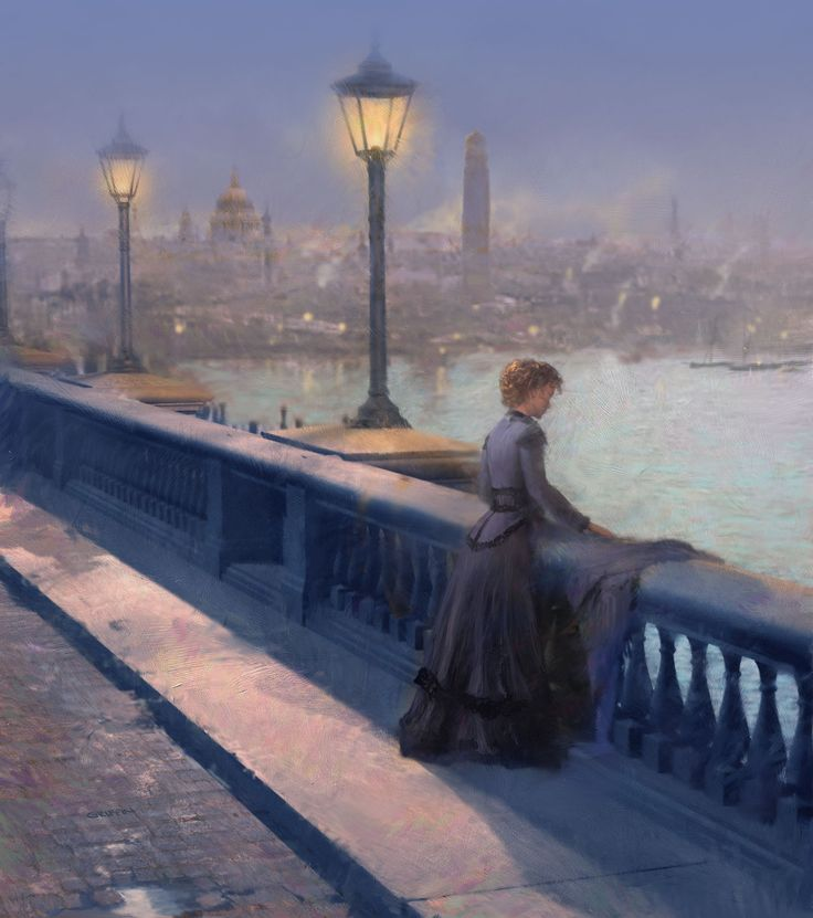 Art by James Griffin, www.jamesgriffinillustration.com Dark Assasin, murder mystery by ? Scene is a woman contemplating suicide on the old Waterloo bridge.