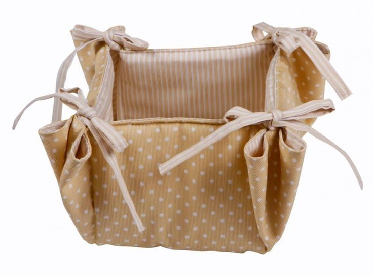 Beautiful Handmade Cosmetics & Accessories Basket Beige Dots with Beige stripes on the inside (douple sided).
