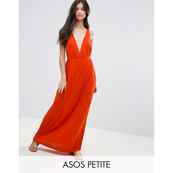 ASOS PETITE Cross Back Jersey Maxi Beach Dress ($20) ❤ liked on Polyvore featuring dresses, orange, petite, plunging neckline maxi dress, beach maxi dress, short dresses, petite dresses and jersey maxi dress