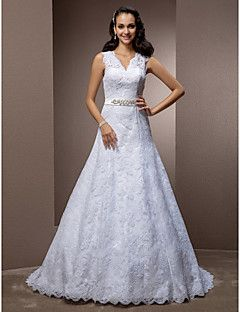 A-line V-neck Court Train Lace Wedding Dress With Removable ... – USD $ 179.99