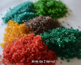 How to make your own colored sugar--great way to get any color you want
