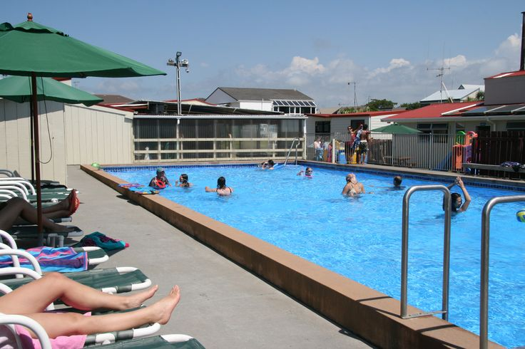 Swimming Pool - 20 metres long, solar heated, avail Oct - March at Cosy Corner Holiday Park, Mt Maunganui, NZ