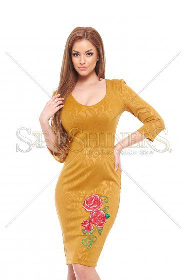 StarShinerS Embroidered Rose Passion Gold Dress