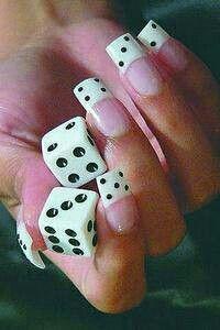 Cute* dice nails~french~acrylic gel