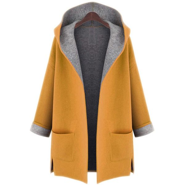Hooded Patch Pocket Side-Vented Plus Size Coat (29 CAD) ❤ liked on Polyvore fe... 1