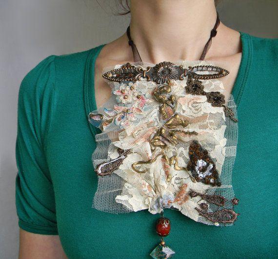 Ruffle Collar Victorian Jabot  Victorian Choker Lace by Elyseeart