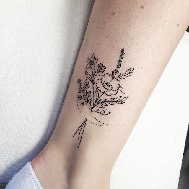 Wildflowers And Moons Wildflowers Moon Tattoo Finelines Black Ink Dotwork Linework Finelinetatto Tattoos Mini Tattoos Flower Tattoo Designs