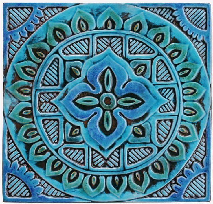 Ceramic wall art. Mandala #4. Turquoise. Hand made tiles ...