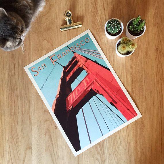 Golden Gate Bridge, San Francisco. Giclee travel art print