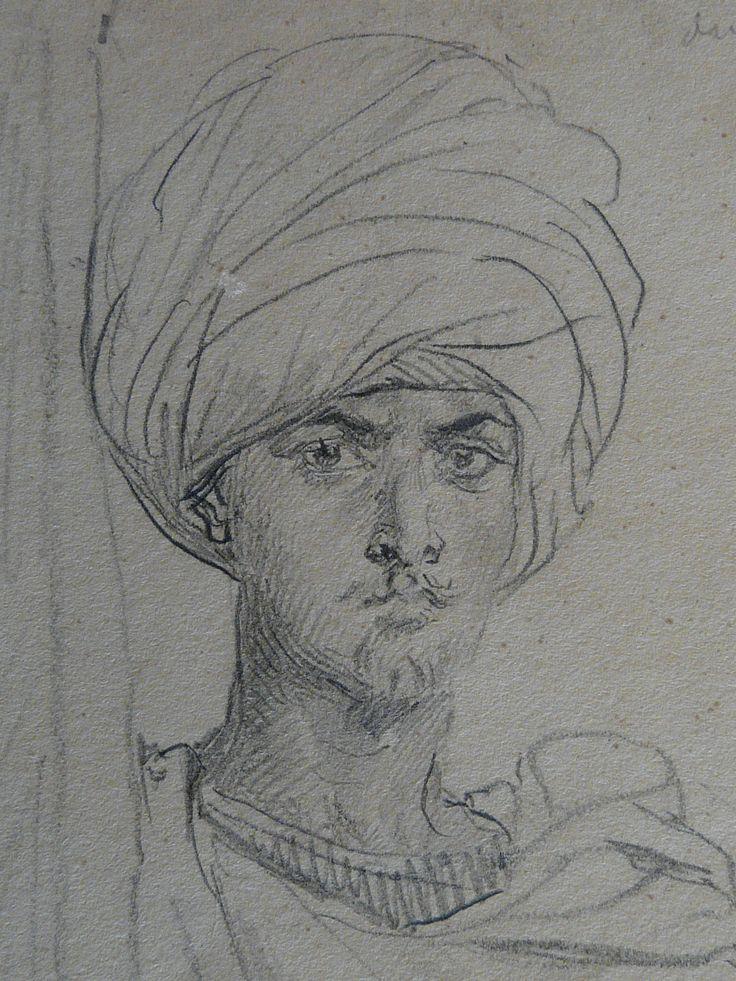 CHASSERIAU Théodore,1846 - Arabe coiffé d'un Turban, debout contre un Arbre - drawing - Détail 20