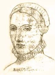 ANNE HATHAWAY (1556-August 8, 1623) was the daughter of Richard Hathaway. She married William Shakespeare on November 30 or December 1,1582 and bore three children, Susanna, Hamnet  and Judith. From her husand's departure for London until his death there is no documentary evidence of Anne's whereabouts or activities. Anne is said to have wished to be buried with her husband but that the curse on those who disturbed his remains prevented this.