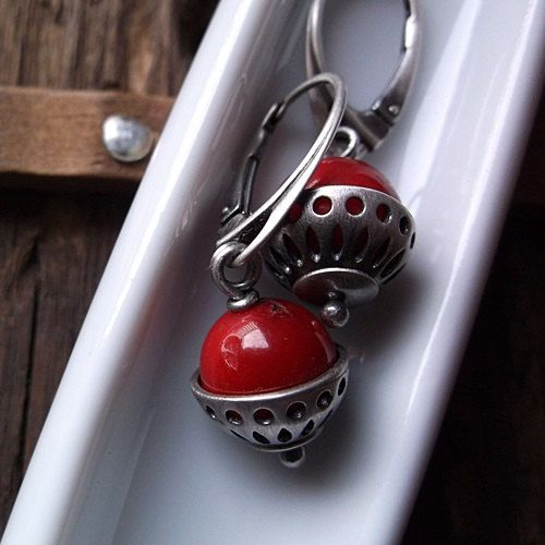 SILVER BASKETS, coral earrings, red coral, sterling silver, red earrings by pieceofmysoulArt on Etsy