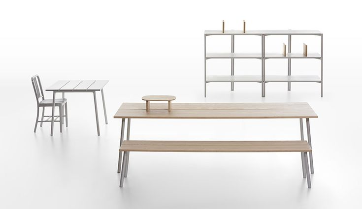 Run Collection from Emeco | Azure -- The Run series of indoor-outdoor furniture, designed by Sam Hecht and Kim Colin in their first collaboration with Emeco, includes streamlined tables, benches and shelves. The pieces are made from...