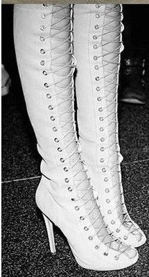 ribbon lace up thigh high boots, open toe cut out strappy gladiator heels, summer booties