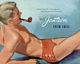 """In 1952, this men's swimsuit was called """"The Daredevil"""" Yes, it was very daring in the 1950's ! Gotta love smoking a pipe at the pool too!"""