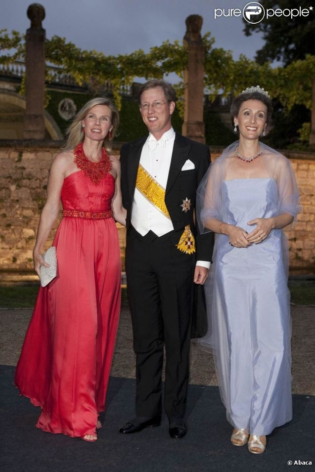 Prince Bernhard of Baden with his wife Stephanie Anne on left and Princess Sibilla of Luxembourg