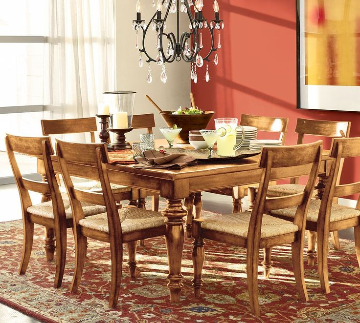 Traditional Orangered And White Themed Dining Room Inspirations With Classic Brown Wood Square Shaped Table