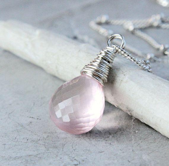 Rose Quartz Necklace Sterling Silver Light Pink Drop by Hildes