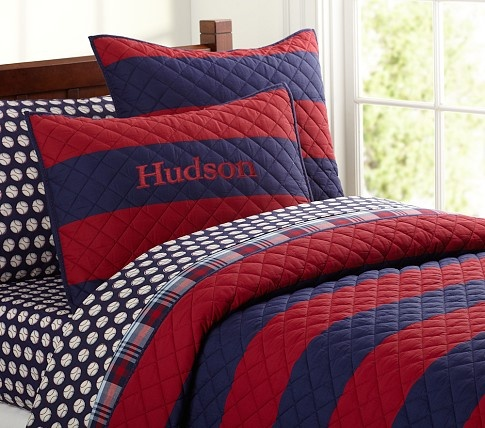 Rugby Stripe Quilted Bedding Pottery Barn Kids Henson