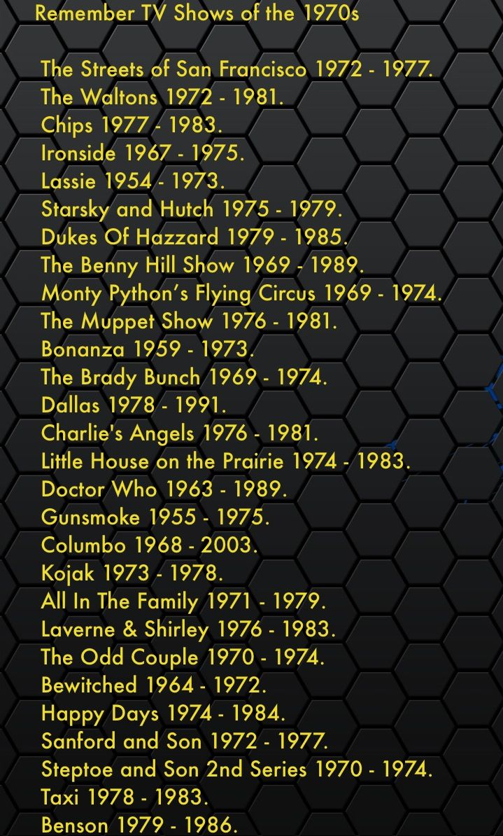 1970's TV shows http://michaelroud.com WOW!! All the shows I watched. Except; I NEVER seen/watched; Benny Hill, Sanford & Son, Doctor Who, Monte Python, & Steptoe & Son.