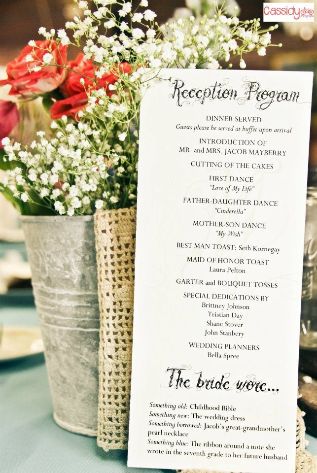 reception program with decorations