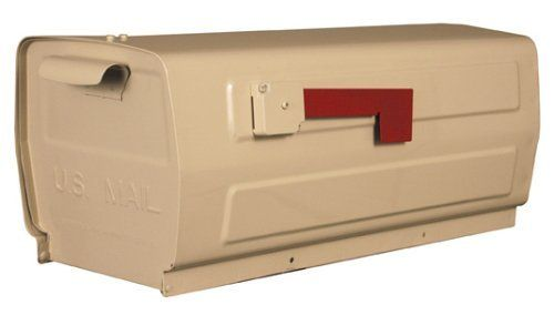 """Vista Mailbox (Beige) by Get My Mailbox and MORE!. $75.00. Width 8 1/4"""". Depth 17 1/2"""". Height 8"""". If you are looking for a way to cut corners on cost but not on quality, the Vista steel box is just what you are looking for in a mailbox. The two piece construction provides a water tight interior. The low profile is perfect for making gang box type of set up while still giving everyone their own individual mailbox."""