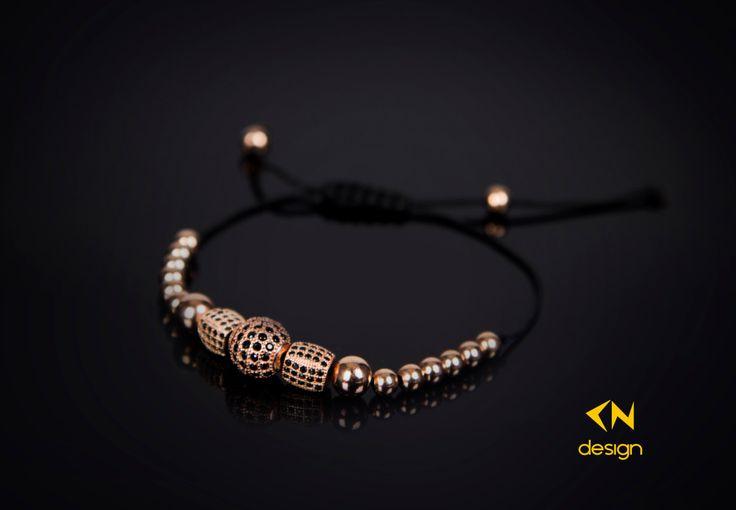 Rose Gold Sterling Silver Balls Macrame Bracelet by Cndesignofficial on Etsy (null)