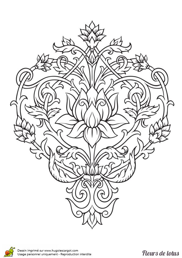 Coloriage Fleur De Lotus Arabesques Sur Hugolescargot