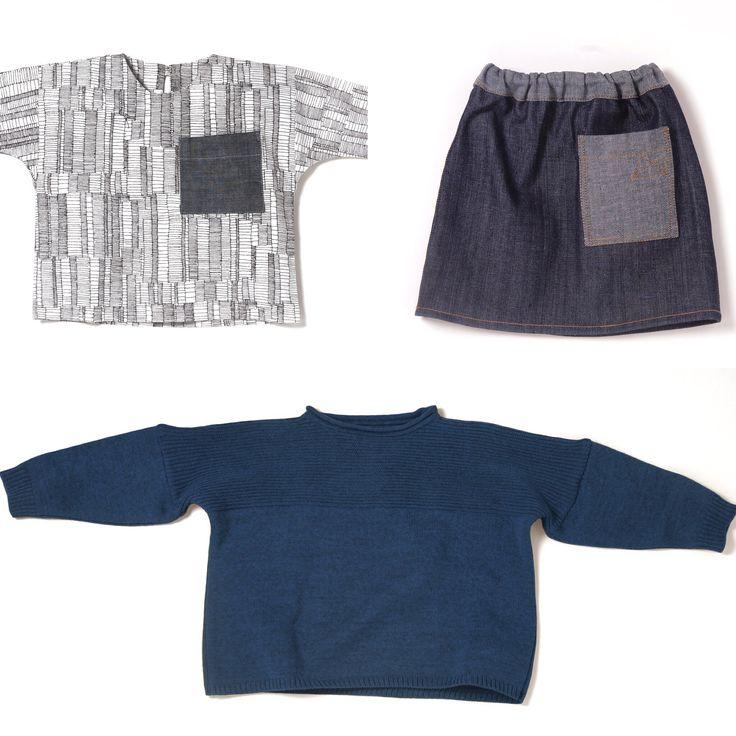 Look de chica según Mikiumi. Camisa de estampado patchwork 100%algodon. Falda vaquera 100%algodon. Jersey Deuxpoints en azul petróleo hecho con lana de Merino 100%. mikiumi.com