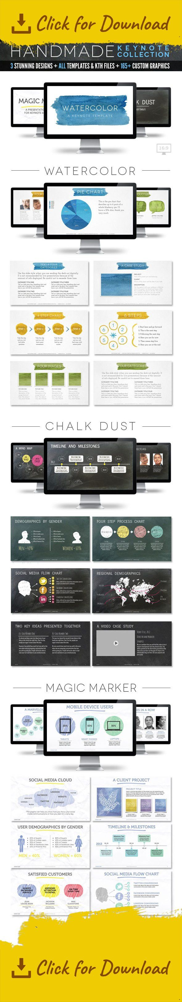agency presentation, artistic, black board, blue, business proposal presentation, chalk board, colorful, company presentation, customizable, digital proposal, easy, graphic icons, green, hand drawn, hand made, hi-lighter, info graphic, infographics, keynote template bundle, marker pen, multimedia, paint, paper texture, presentation deck, presentation template, social media, user demographics, video presentation, watercolor The Handmade Collection – Keynote Template Bundle Flex your cr...