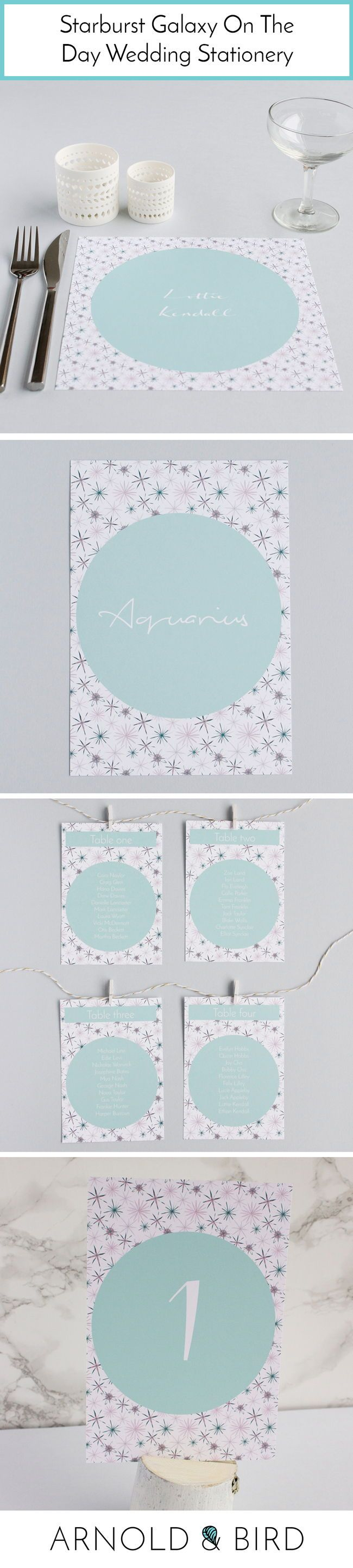Starburst Galaxy Personalised On The Day Wedding Stationery - Placemat and alternative place name & card, table plan, table numbers and name by Arnold & Bird. Unique personalized wedding stationery for your special day