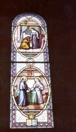 Jeanne Franqoise Frément de Chantal - ca 1900 (?). Glasschilderkunst Frankrijk, Bourgondië, Monthelon (bij Chantal), kerk Beneden: Zij ontvangt geestelijke leiding van Franciscus Van Sales Boven: Zij vergeeft haar aangedaan onrecht.