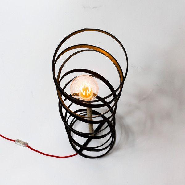 Circles. Handmade floor lamp made of iron and cord.