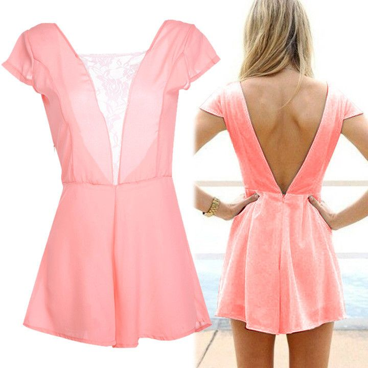 Short Sleeve Backless Sexy Jumpsuit
