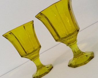 Pair of Vintage 1960s Independence Glass Yellow Paneled Water | Wine Drinking Glasses - Mid-Century Stemware