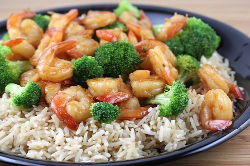Ingredients: 2lbs shrimp (peeled and deveined) 1 large head broccoli (sliced into florets) Sauce- 2/3 cup soy sauce ½ cup chicken broth 1/3 cup rice wine 3 ½ tablespoons sugar 1 tablespoon sesame oil ¼ teaspoon white pepper 2 tablespoons vegetable oil 1 tablespoon fresh garlic (minced) 1 tablespoon fresh ginger (minced) 2 tablespoons cornstarch ¼ cup water