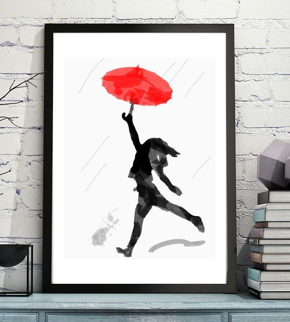 Red Umbrella  Child Playing Ink Painting Digital Art by apillaza . Download art image via Etsy store and print at home.    #Etsy #downloadart #Etsyprints  #redumbrella