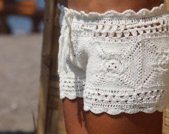 Clohe hecha a mano crochet playa corto pantalones por EllennJames