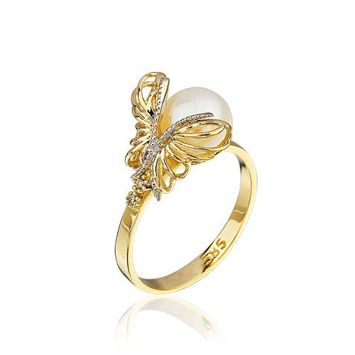 14K Solid Yellow Gold Unique Butterfly Pearl by goldandtreasures, $186.00