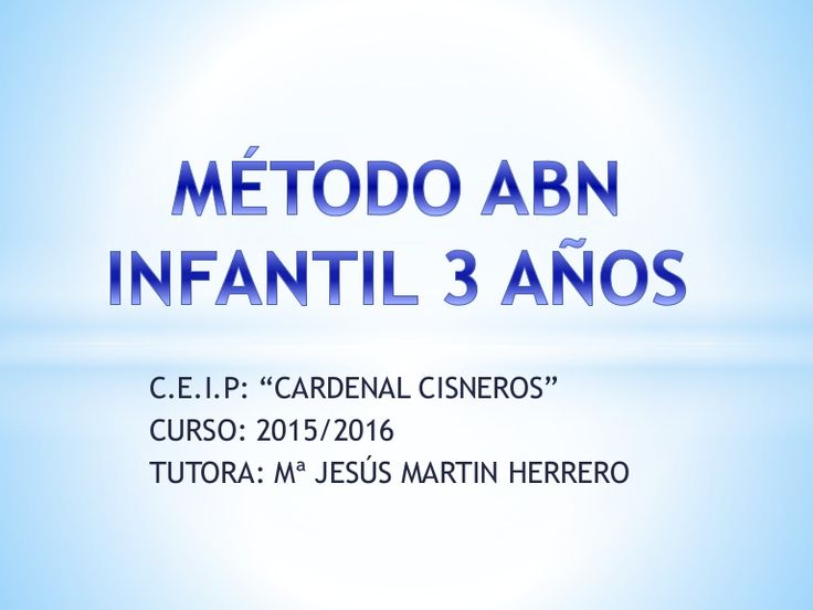 Metodología ABN, 3 años. CEIP Cardenal Cisneros, Boceguillas.