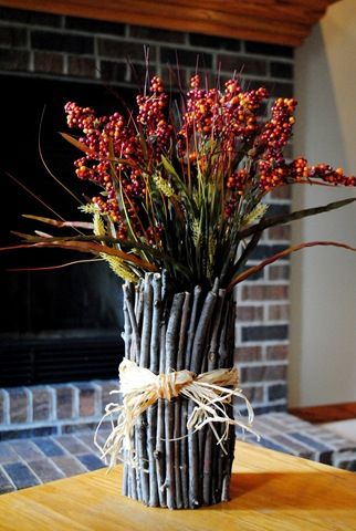 Twig vase made for pretty much nothing. Can't wait to pick up sticks!