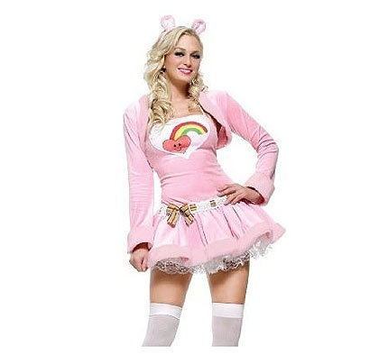 LADIES SEXY PINK CARE BEAR 1980'S FANCY DRESS COSTUME OUTFIT X SMALL SIZE 6-8 | eBay