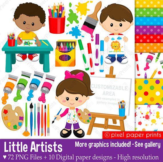 Little Artists Clip art and digital paper set por pixelpaperprints