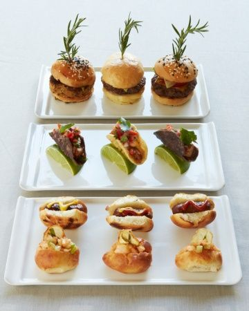 Late-night snacks: a trio of sliders, tiny fish tacos, Kobe beef hot dogs, and little lobster rolls