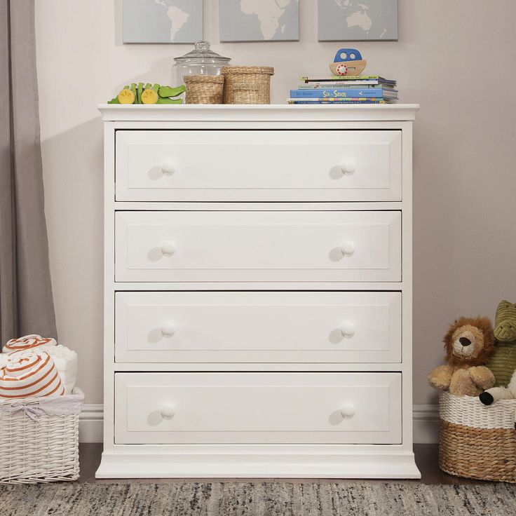 The classic color and universal appeal of the Signature Four Drawer dresser provide the finishing touch to any nursery. The beautiful lines add to its statuesque design.<br><br>The DaVinci Signature 4 Drawer Tall Dresser - White features:<br><ul><li>Meets ASTM international and U.S. CPSC safety standards</li><br><li>Finished in non-toxic multi-step painting process, lead and phthalate safe.</li><br><li>Made of sustain...