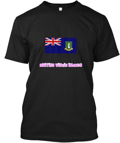 British Virgin Islands Flag Pink Flower  Black T-Shirt Front - This is the perfect gift for someone who loves British Virgin Islands. Thank you for visiting my page (Related terms: I Heart British Virgin Islands,British Virgin Islands,British Virgin Islander,British Virgin Islands #British Virgin Islands, #British Virgin Islandsshirts...)
